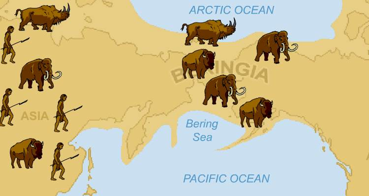 Drawing of Bering land bridge