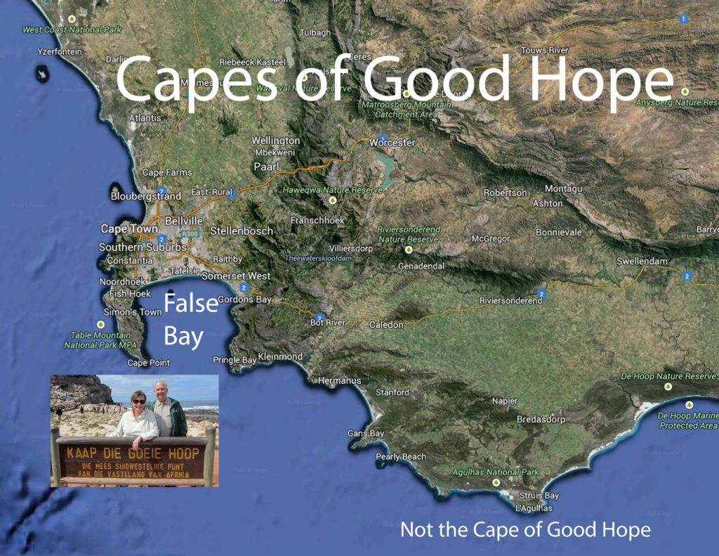 Satellite map Cape of Good Hope and False Bay
