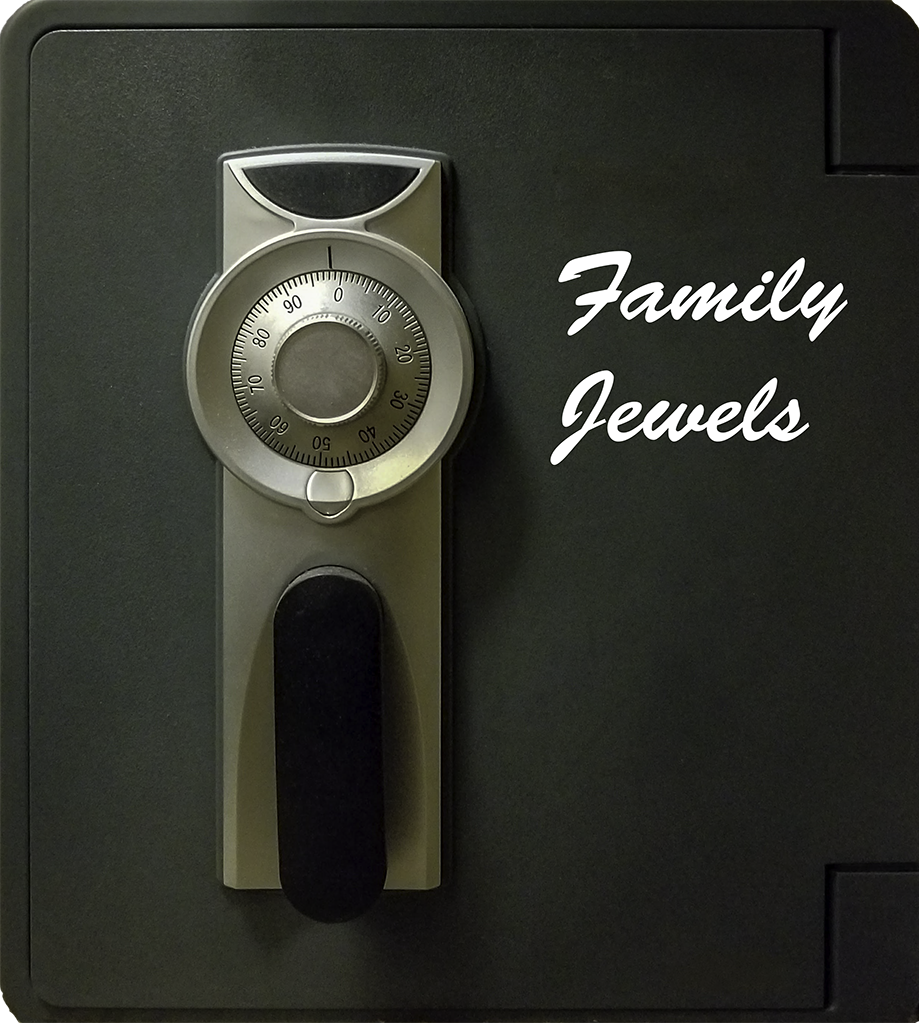 "Safe, labeled ""Family Jewels"""