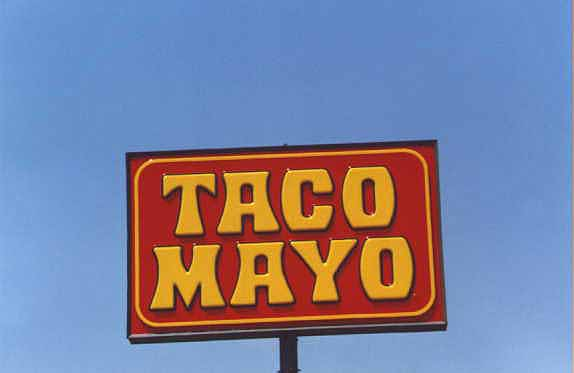 Taco Mayo restaurant sign