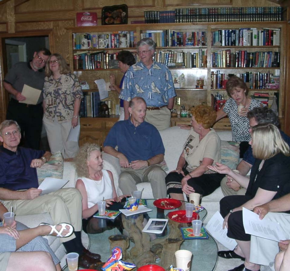 Standing: James Peterson, Barbara Guzak, Evelyn Caldwell, Robin Caldwell. Seated: Aubrey Adcock, Teri Ann Rogers, Bob Rogers, Shirley Howard, Kay Adcock, Ron Thomas, Barbara Thomas