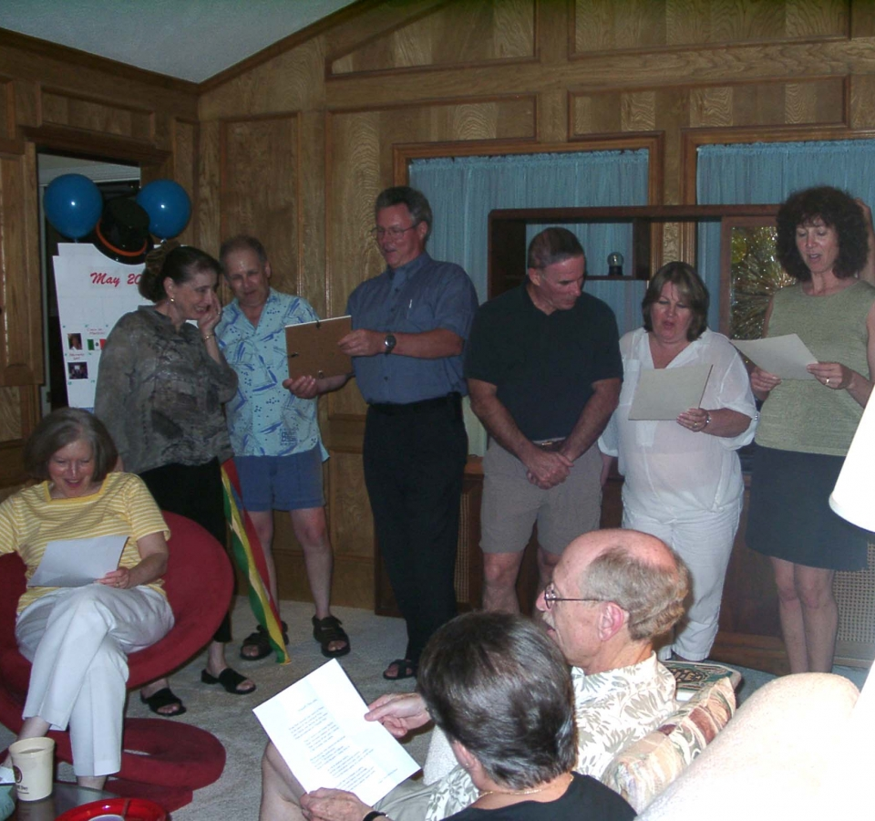 Left to right: Trudy Wiseman, Denise Mayoff, Bernie Mayoff, Doug Frazier, Jack Byno, Dorrie Byno, Lisa Escaloni. Back and profile seated: Sue and Barry Slotnick. The crowd couldn't wait, so at midnight in Toronto and the rest of the Eastern Time Zone, the 2003 Mayoff Day song was sung in Texas.