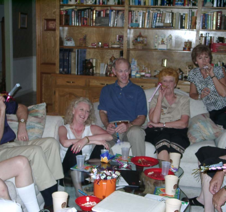 Aubrey Adcock, Teri Ann Rogers, Bob Rogers, Shirley Howard, Kay Adcock, Denise Mayoff, Barbara Thomas. At the stroke of midnight good wishes were exchanged and the celebrants and hosts discovered that the noise-maker blowers were bereft of noise.