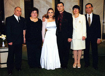 Left to right: Dima Gindin (Bun), Galya Gindin, Masha and Sasha Dashkov, Mr. & Mrs. Dashkov (Sasha's parents).