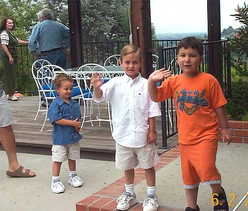 Foreground: Jake Mayo, age 3; Austen Mayo, age 6; Matthew Mayoff, age 4.