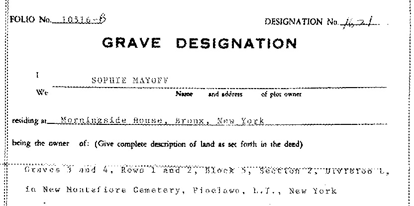 partial extract of Sophie Mayoff's transfer of one of the four graves to Sandra Alotta on January 16, 1976.