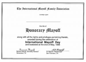 """Honorary Mayoff"" certificate"