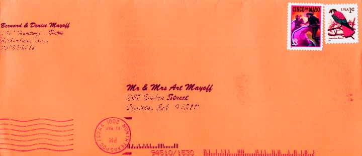 Art's invitation envelope, with the cancellation mark kitty corner to the stamps