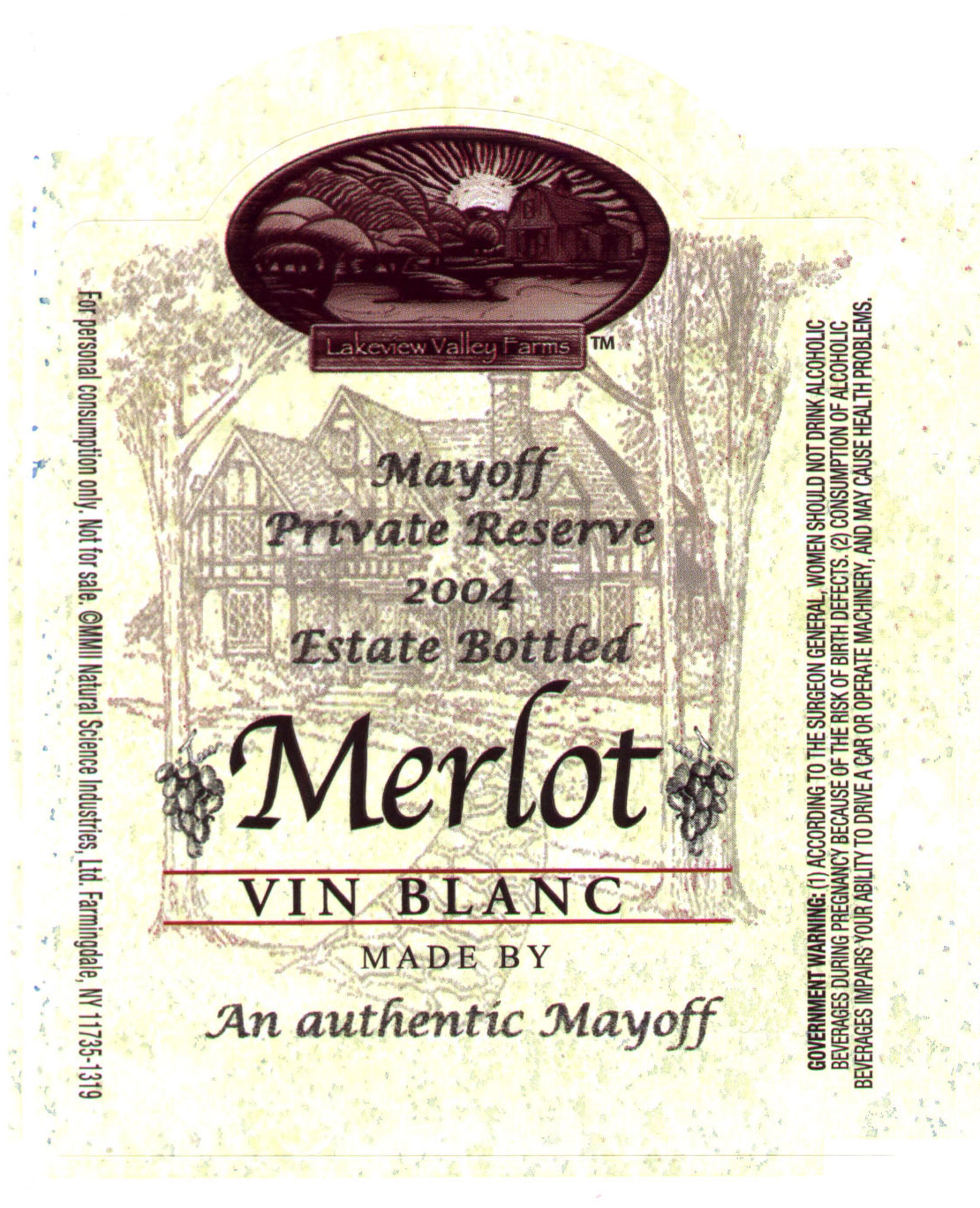 wine label, vintage Mayoff 2004