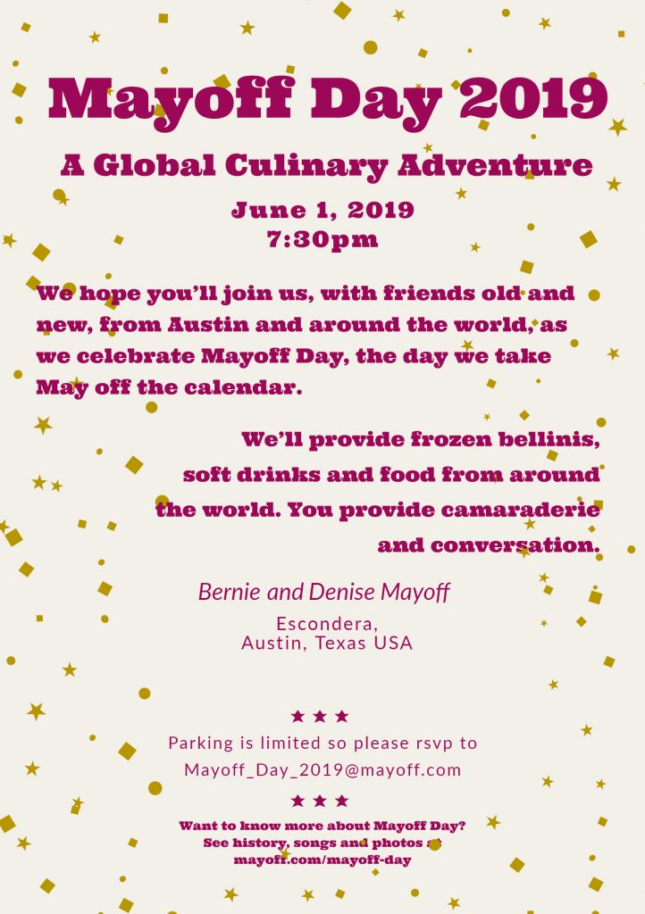 2019 Mayoff Day invitation to an International Culinary Adventure