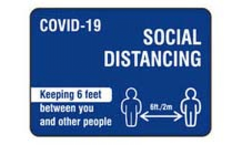 2020 Social Distancing blue sign-16×9
